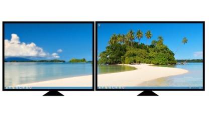 Windows 8 bietet auch bildschirmübergreifende Hintergrundbilder.