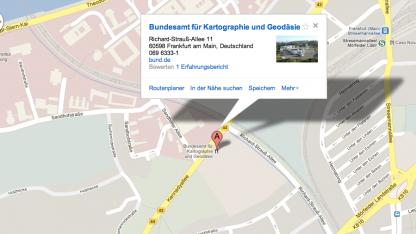 Das Bundesamt für Kartographie und Geodäsie in Frankfurt/Main bei Google Maps