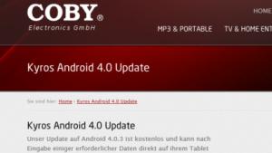 Cobys Updateseite für Android 4