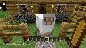 Ein Schaf hütet den Vorgarten.