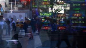 Facebook-Logo an der Börse