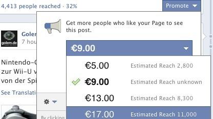 Facebook-Einträge können beworben werden.