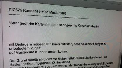 Diese Phishing-Mails gingen am 8. Juni 2012 an CSV-Kunden.