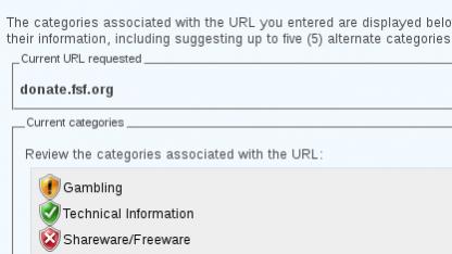 Microsofts Forefront TMG klassifiziert die Spendenseite der FSF als Glücksspiel.
