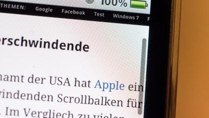 Die verschwindende Scrollbar ist nun ein Apple-Patent.