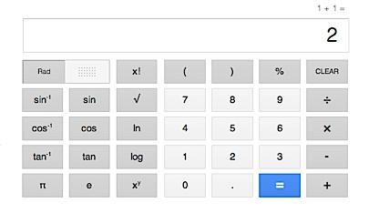 Taschenrechner als Suchergebnis