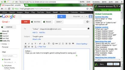 Dragon Naturallyspeaking 12 funktioniert auch mit Gmail