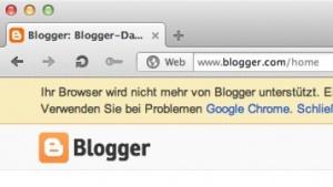 Bloggermeldung beim Login mit Opera