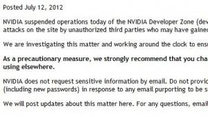 Der Hinweis von Nvidia auf den Hack