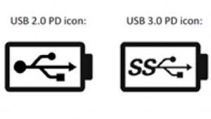 Logos für USB-PD für USB 2.0 und USB 3.0