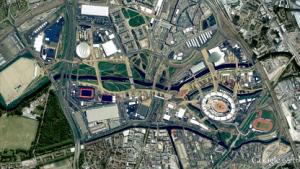 Londons Olympiapark aus dem Weltall