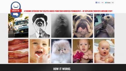 Beim Mouseover zeigt Unbaby.me Ersatzvorschläge für die Babyfotos an.