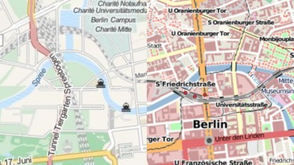 Mapquest (l.) und Openstreetmap (r.) in Offmaps