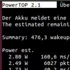 Akkulaufzeiten: Powertop 2.1 erweitert ARM-Unterstützung