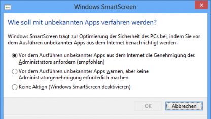 Smartscreen-Einstellung in Windows 8