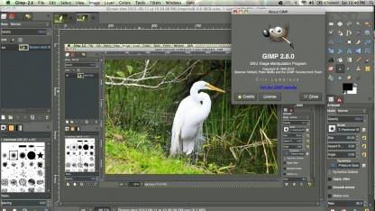 Gimp 2.8.2 läuft nativ unter Mac OS X.