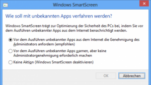 Smartscreen-Einstellung in Windows 8