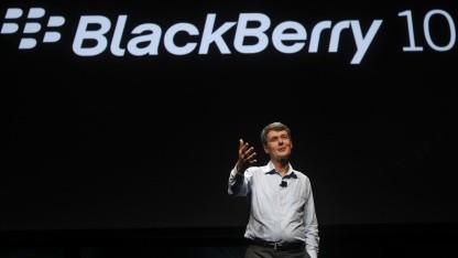 RIM-Chef Thorsten Heins zeigt Blackberry 10 in San Jose.