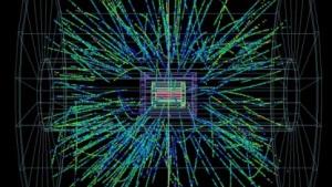 Kollision von Bleiionen mit Protonen, aufgenommen vom Experiment  Alice: unterschiedliche Geschwindigkeit, unterschiedliche Bahnen