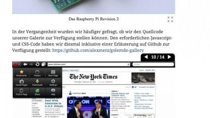 Elemente der neuen Bildergalerie auf Golem.de