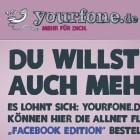 Yourfone.de Facebook Edition: Telefon-, SMS- und Internetflatrate für 20 Euro