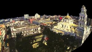 Rekonstruierte Ansicht einer Stadt durch die Reflexionsfähigkeit der Oberflächen
