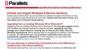 Parallels Desktop für Mac und Win 8 - Nutzer sollten mit dem Upgrade von Windows-VMs warten.