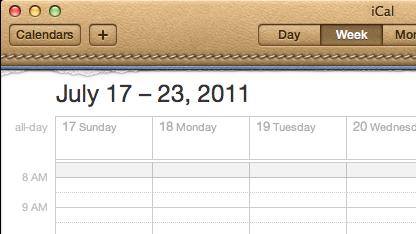 Der Kalender von Mac OS X mit Lederoptik