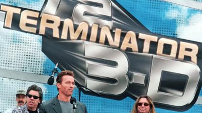 Arnold Schwarzenegger 1999 bei Vorstellung der 3D-Attraktion zu Terminator 2 in den Universal Studios