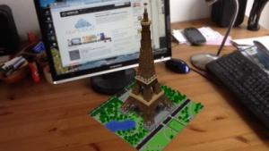 Per Minecraft Reality platzierter Eiffelturm