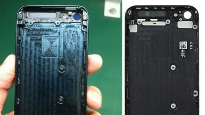 Links das mutmaßliche iPhone 5S, rechts das iPhone 5
