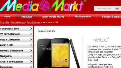 Nexus 4 bei Media Markt erst Mitte Januar 2013
