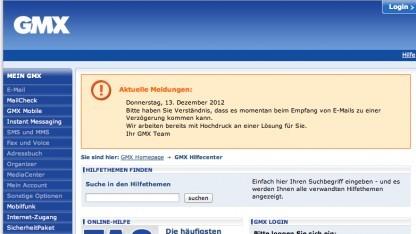 GMX-Kunden erhalten derzeit keine E-Mails.