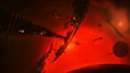 Elite: Dangerous - Konzeptbild zeigt eine Raumstation in der Nähe eines roten Giganten.