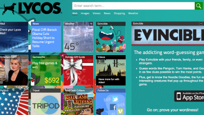 Lycos - heute ein Webportal im App-Look