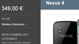 Nexus 4 wird erst nächstes Jahr ausgeliefert.