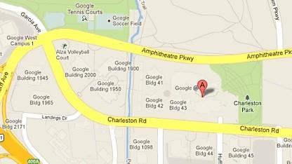 Google Maps zeigt das Google-Hauptquartier.