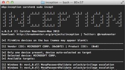 Inception kann Passwörter in Speicherabbildern zurücksetzen.