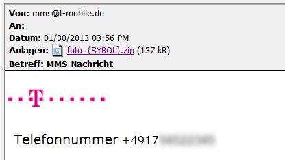 So sehen die gefälschten MMS-Mails aus.