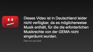 """Gema-Abmahnung: """"Youtube soll Einblendung von Sperrtafeln abstellen"""""""