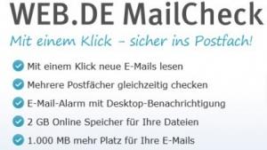 Web.de stockt auf: Postfach mit 1 GByte und 2 GByte Cloud-Speicher