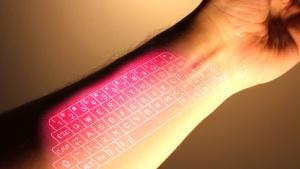 So ungefähr könnte die Lasertastatur aus Googles Project Glass aussehen.