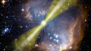 Künstlerische Darstellung eines hellen Gammablitzes in einer Sternenformation