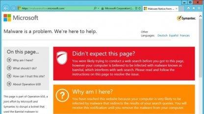 Infizierte Systeme erhalten bei Suchanfragen diese Seite von Microsoft.