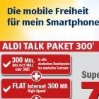 Aldi Talk: Datenflatrate mit 300 Gratis-SMS oder Freiminuten für 8 Euro