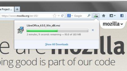 Der Downloadmanager benötigt kein eigenes Fenster mehr.