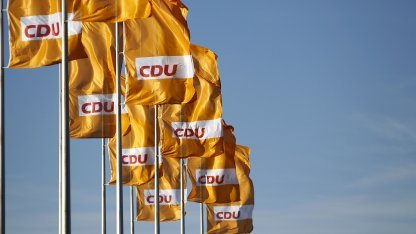 CDU-Flaggen in Karlsruhe