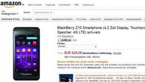 Smartphone: Blackberry Z10 kann für 630 Euro bestellt werden