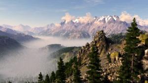 Unigine Valley mit Bodennebel, Schnee und Lichtreflexen