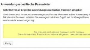 Mit anwendungsspezifischen Passwörtern war ein einfacher Zugang zu einem Google-Konto möglich.